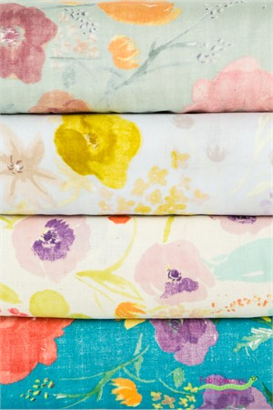 Nani Iro, Meadow DOUBLE GAUZE, Birds and Blooms 4 Total