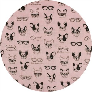 Japanese Import, DOUBLE GAUZE, French Bulldogs Pink