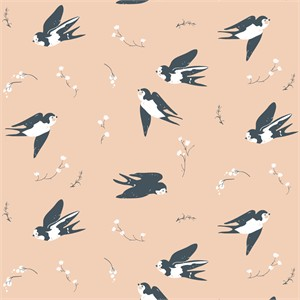 Jenny Ronen for Birch Organic Fabrics, Little, DOUBLE GAUZE, Happy Swallow