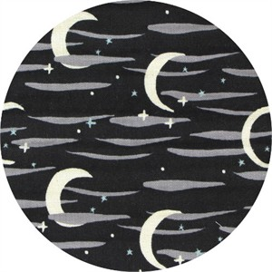 Japanese Import, DOUBLE GAUZE, Moon and Stars Black