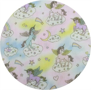 Cosmo Textiles, DOUBLE GAUZE GLITTER, Unicorn Dreams Multi
