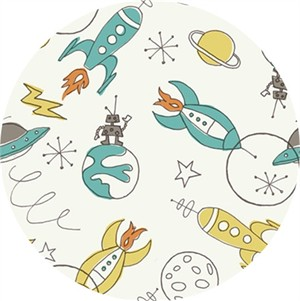 Monaluna for Birch Organic Fabrics, DOUBLE GAUZE, Space Rockets