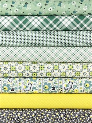 Denyse Schmidt for Free Spirit, Eastham, Juniper in FAT QUARTERS 8 Total