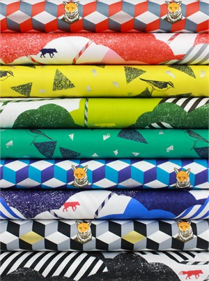 Echino, Huedrawer SATEEN in FAT QUARTERS 8 Total