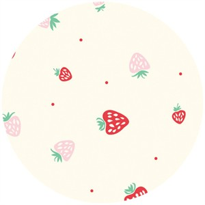 Emily Isabella for Birch Organic Fabrics, Everyday Party, Strawberries Cream