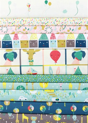 Emily Isabella for Birch Organic Fabrics, Happy Town in FAT QUARTERS 10 Total (PRE-CUT)