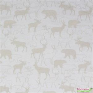 Henry Glass, Woodland Retreat FLANNEL, Animal Silhouette Beige