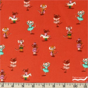 Heather Ross for Windham, Sugarplum, FLANNEL, Nutcracker Mice Red