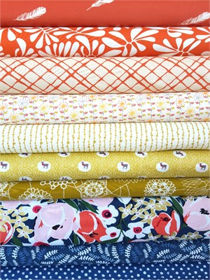 Fabricworm Custom Bundle, Coral Floral in FAT QUARTERS 10 Total