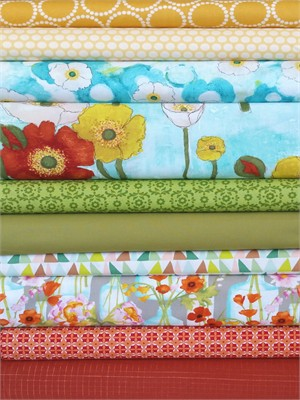 Fabricworm Custom Bundle, Floral Fields in FAT QUARTERS 10 Total