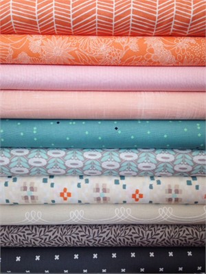 Fabricworm Custom Bundle, Summer Breeze in FAT QUARTERS 8 Total
