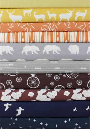 Fabricworm Custom Bundle, Fall Hike in FAT QUARTERS 10 Total