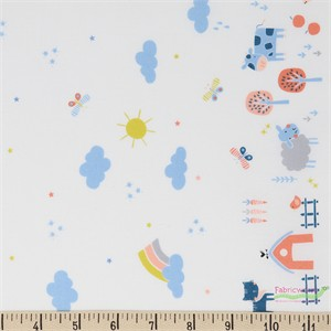 Camelot Fabrics, Cluck Moo Oink, Farm Life White Double Border