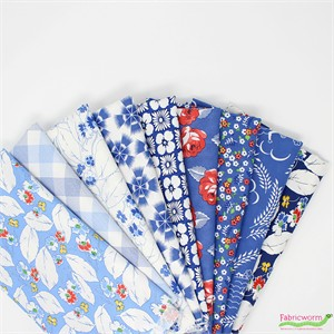 Linzee McCray for Moda, Feed Sacks: True Blue in FAT QUARTERS 9 Total