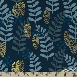 Jen Hewett for Cotton and Steel, Imagined Landscapes, Fern Dell Navy Metallic