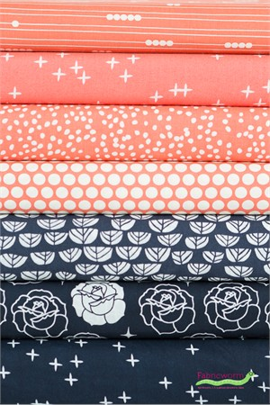 Fabricworm Custom Bundle, ORGANIC, Floral Panache in FAT QUARTERS 6 Total