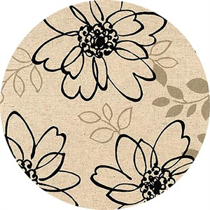 Sevenberry for Robert Kaufman, Cotton/Flax Prints, CANVAS, Floral Sketch Black