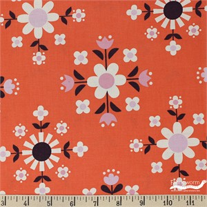 Kimberly Kight for Cotton and Steel, Welsummer, Florametry Sweet Orange