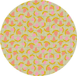 Sarah Golden for Andover, Tiger Plant, LINEN, Flower Buds Sherbert Metallic