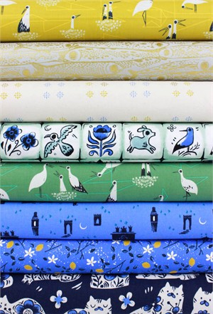 Sarah Watts for Cotton and Steel, From Porto With Love, Gold in FAT QUARTERS 8 Total (Pre-Cut)