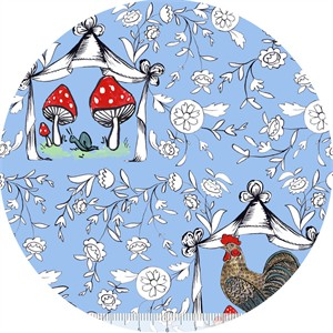 Molly Hatch for Blend, French Hen, Good Day Toile Blue