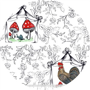 Molly Hatch for Blend, French Hen, Good Day Toile White