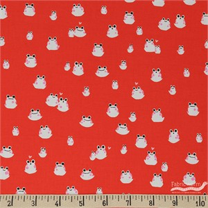 Sarah Watts for Cotton and Steel, Front Yard, Frogs Red