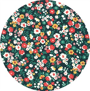 Sevenberry for Robert Kaufman, Petite Garden May Flowers, Full Bloom Black