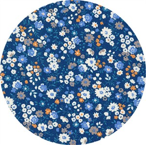 Sevenberry for Robert Kaufman, Petite Garden May Flowers, Full Bloom Blue