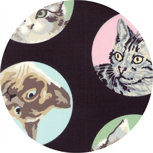 Erin Michael for Moda Fabrics, Meow or Never, Furball Black Cat