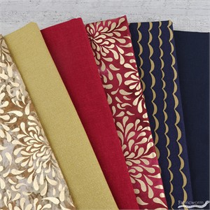 Fabricworm Custom Bundle, Glitz and Gold in FAT QUARTERS 6 Total