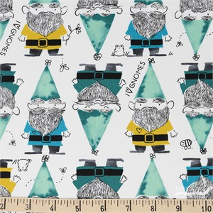 Sarah Watts for Cotton and Steel, Front Yard, Gnomes Green