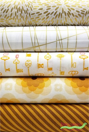 Fabricworm Custom Bundle, Good as Gold in FAT QUARTERS 5 Total