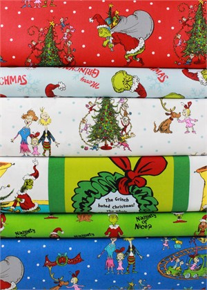 Robert Kaufman, How The Grinch Stole Christmas 6 in FAT QUARTERS 6 Total