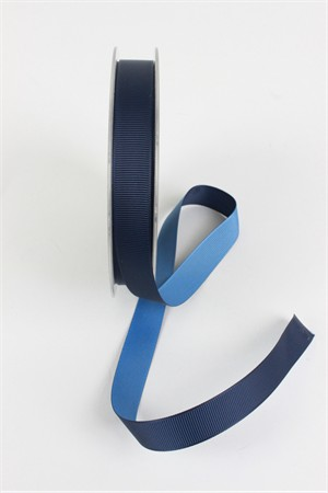 "Frou-Frou, 5/8"" Two Sided Gros-Grain Ribbon, Navy/Denim"