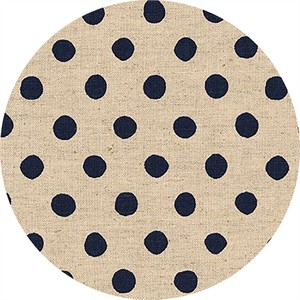 Sevenberry for Robert Kaufman, Natural Dots, CANVAS, Half Inch Dot Navy