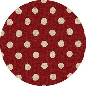 Sevenberry for Robert Kaufman, Natural Dots, CANVAS, Half Inch Dot Red