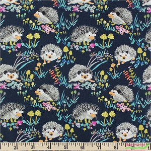 Betsy Olmsted for Windham, Enchanted Forest, Happy Hedgehog Navy