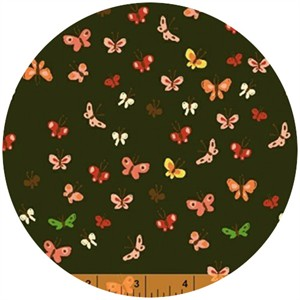 Heather Ross, Tiger Lily, WIDE WIDTH, LAWN, Butterflies Mud