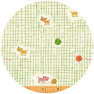 Heather Ross, Tiger Lily, Yarn Grid Green