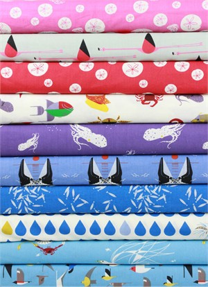 Charley Harper for Birch Organic Fabrics, Maritime, High Tide 10 Total