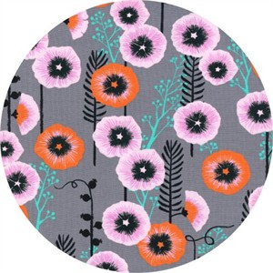 COMING SOON, Sarah Watts for Cotton and Steel, Santa Fe, Hollyhocks Grey