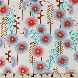 Sarah Watts for Cotton and Steel, Santa Fe, Hollyhocks Natural