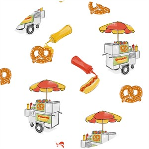 Alicia Jacobs for Ink & Arrow, City Life, Hot Dog Cart White
