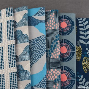Jen Hewett for Cotton and Steel, Imagined Landscapes, Moonlight in FAT QUARTERS 6 Total (PRECUT)