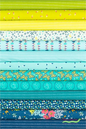 Sandra Clemons for Michael Miller, In Bloom, Turquoise in FAT QUARTERS 13 Total