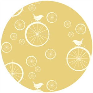 Jay-Cyn Designs for Birch Fabrics, Mod Basics, Organic, Birdie Spokes Sun