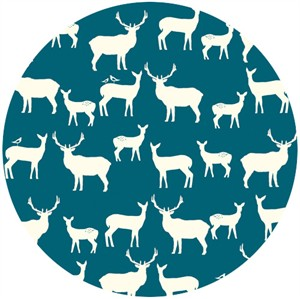 Jay-Cyn Designs for Birch Fabrics, Mod Basics 2, Organic, Elk Fam Teal