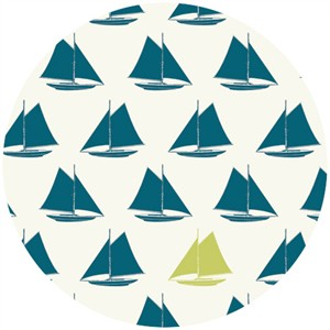Jay-Cyn Designs for Birch Fabrics Organic, Set Sail, Sailboat Teal