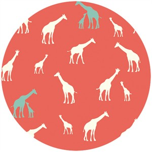 Jay-Cyn Designs for Birch Fabrics, Serengeti, KNIT, Giraffe Fam Coral